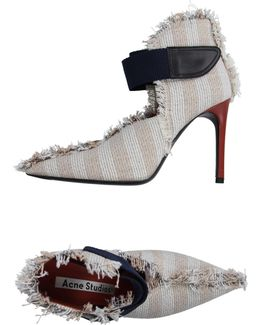 Striped Frayed Canvas Pumps