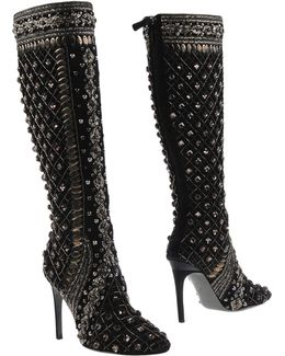 Crystal-Embellished Knee-High Boots
