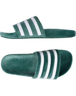 Adilette Velvet Slider Flip Flops In Green By9907
