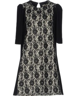 Floral-Lace Wool-Blend Shift Dress