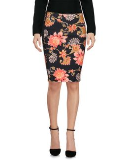 High Waist Skirt In Floral Print Technical Jersey With Grosgrain Inserts On The Sides