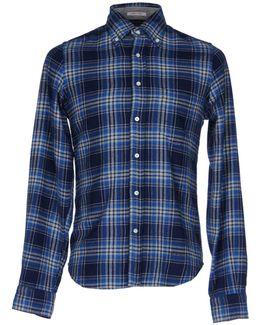 Trim Fit Melange Twill Plaid Long Sleeve Shirt