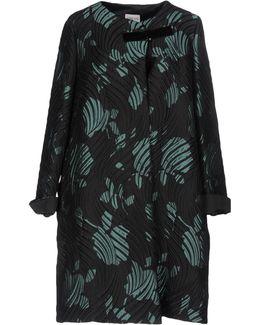 Black Wave-matelassé Jacquard Coat
