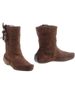 Woven Suede Ankle Boots