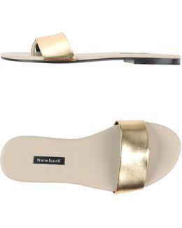 Metallic-Leather Slides