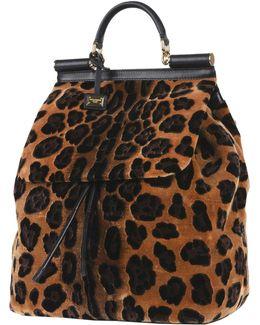 Zaino Punto Velluto Leopard Backpack