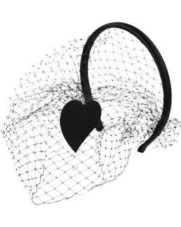 Heart Patch On Satin Headband With Veil