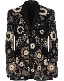 Suede And Stud Appliqué Wool Mohair Blazer