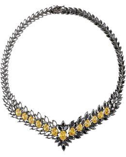 Statement Zircon Gunmetal Necklace