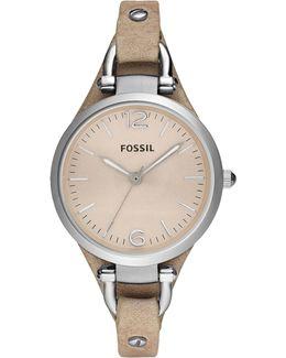 Georgia Leather-Strap Watch