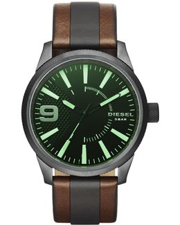 Diesel 'rasp' Leather Strap Watch