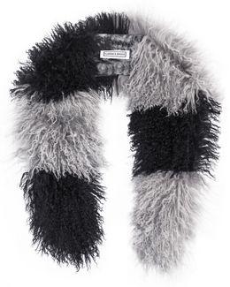 Striped Mongolian Shearling Stole In Black & Grey