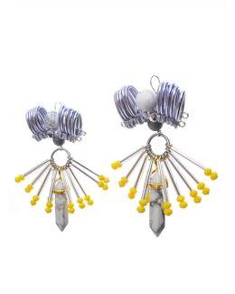Embellished Pewter Column Earrings