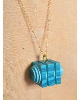 Green-blue Matrix Tiered Cube Pendant