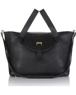 New Zipped Medium Thela In Black Calf Leather