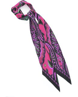 Prickly Paisley Super Skinny Scarf In Vibrant Pink