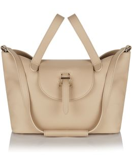 Thela Medium Tote In New Sand Calf Leather