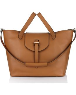 Classic Thela Tote In Tan Calf Leather - Back In Stock