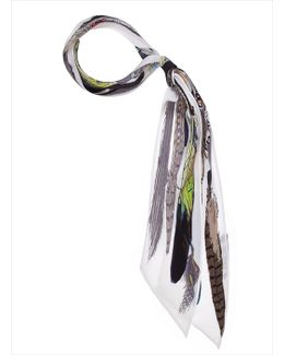 Feathers Super Skinny White Scarf