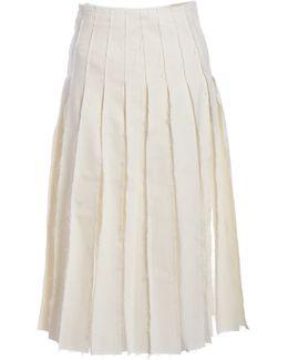 Olivia Frayed Pleat Midi Skirt