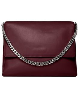 Yael Burgundy Leather Shoulder Bag By .