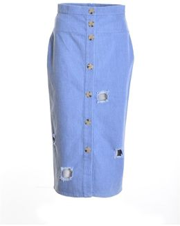 Josie Blue Denim Skirt With Cut Outs