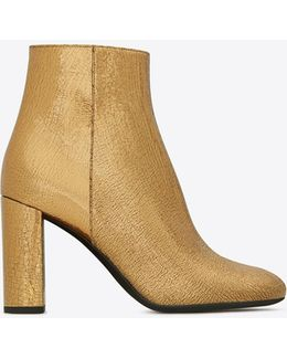 Loulou 95 Zipped Ankle Boot In Bronze Metallic Leather