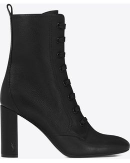 Loulou 95 Lace-up Boot In Black Grained Leather