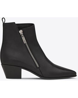 Rock 40 Zip Ankle Boot In Black Leather