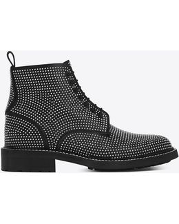 William 25 Studded Lace-up Boot In Black Leather