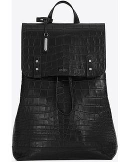 Sac De Jour Souple Backpack In Black Crocodile Embossed Leather