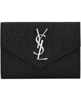 Small Monogram Envelope Wallet In Black Crocodile Embossed Leather