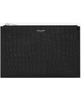 Classic Paris Zipped Mini Tablet Sleeve In Black Crocodile Embossed Leather