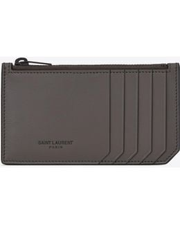 Fragments Zip Pouch In Earth Grey Leather And Black Trim