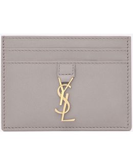 Ysl Card Case In Mouse-gray Leather