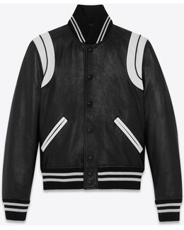 Classic Teddy Jacket In Black And White Leather