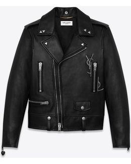 Classic Black Ysl Motorcycle Jacket