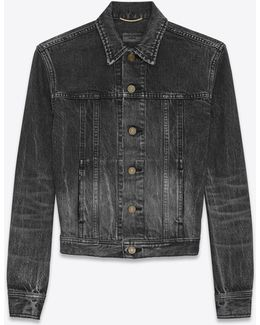 Original Ysl Heart And Lightening Bolt Patch Jean Jacket In Black Bleached Denim