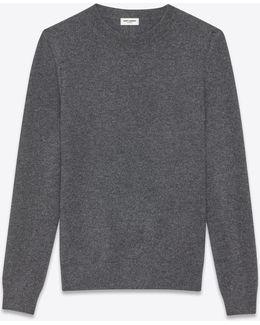 Classic Crewneck Sweater In Medium Heather Grey And Black Striped Cashmere