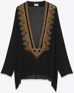 Black And Gold Embroidered Kaftan Blouse