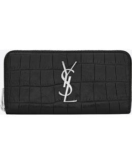 Monogram Zip Around Wallet In Black Crocodile Embossed Leather