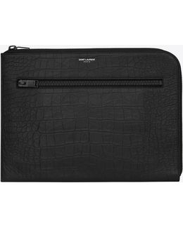 Paris Multi-zip Tablet Holder In Black Crocodile Embossed Leather