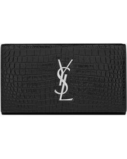 Large Monogram Flap Wallet In Black Crocodile Embossed Shiny Leather