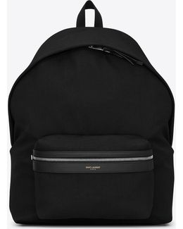 Giant City Backpack In Black Canvas Nylon And Leather
