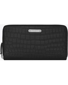 Id Zip Around Wallet In Black Crocodile Embossed Leather