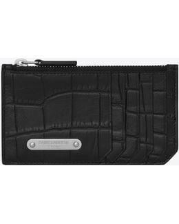 Id Fragments Zip Pouch In Black Crocodile Embossed Leather