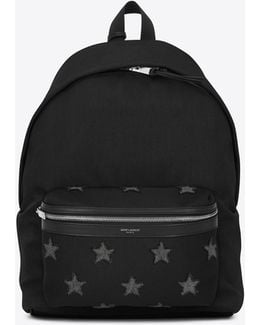 City California Stars Backpack In Black And Washed Grey