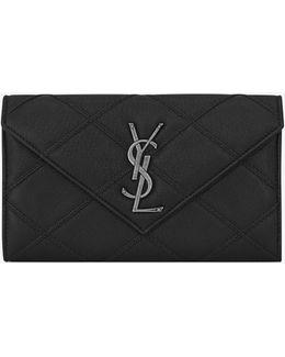 Large College Flap Wallet In Black Diamond Matelassé Leather