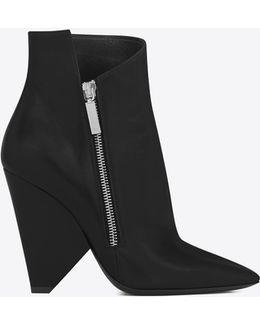 Niki 105 Asymmetrical Ankle Boot In Black Leather