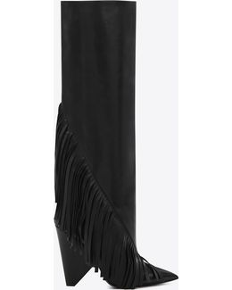 Niki 105 Fringed Knee-high Boot In Black Leather